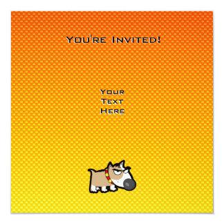 Yellow Orange Grumpy Dog Personalized Invitations