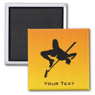 Yellow Orange High Jump Square Magnet