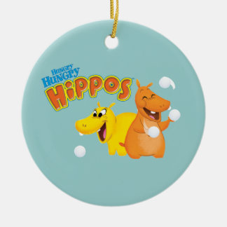 Yellow & Orange Hippo Christmas Ornament