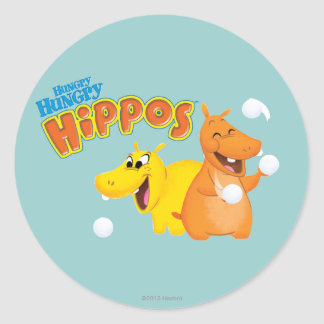 Yellow & Orange Hippo Classic Round Sticker