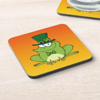 Yellow Orange Irish Frog Beverage Coasters