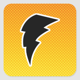 Yellow Orange Lightning Bolt Square Sticker