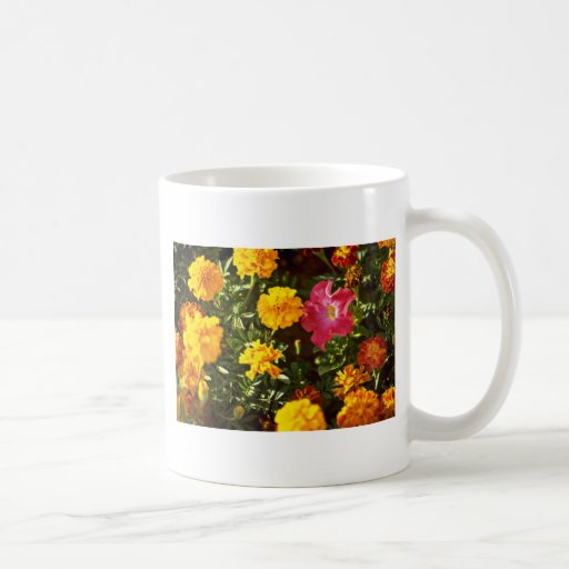 Yellow, Orange Marigolds, Petunia flowers Basic White Mug