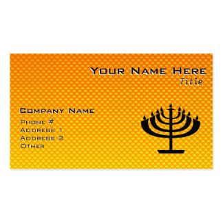 Yellow Orange Menorah Business Card Template