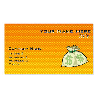 Yellow Orange Money Bags Business Cards