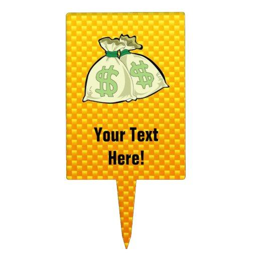 Yellow Orange Money Bags Cake Topper