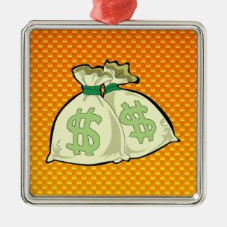 Yellow Orange Money Bags Christmas Tree Ornaments
