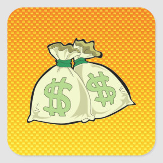 Yellow Orange Money Bags Square Stickers