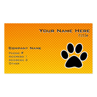 Yellow Orange Paw Print Business Cards