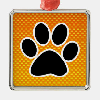 Yellow Orange Paw Print Christmas Ornament