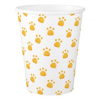 Yellow Orange Paw Prints Pattern Paper Cup