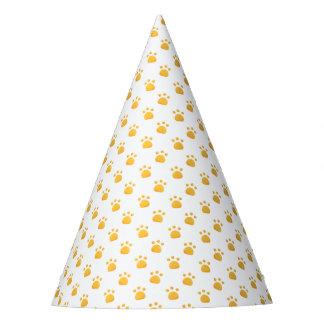 Yellow Orange Paw Prints Pattern Party Hat