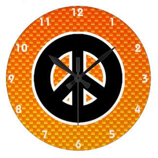 Yellow Orange Peace Sign Round Wallclock