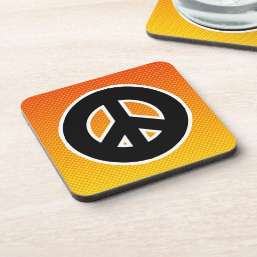 Yellow Orange Peace Sign Drink Coaster