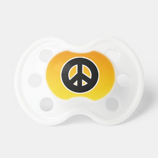 Yellow Orange Peace Sign Baby Pacifier