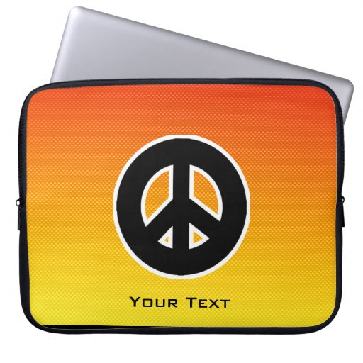 Yellow Orange Peace Sign Computer Sleeve