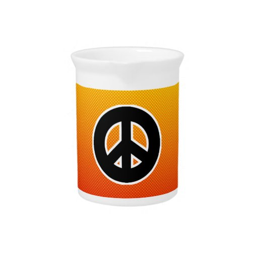 Yellow Orange Peace Sign Drink Pitchers