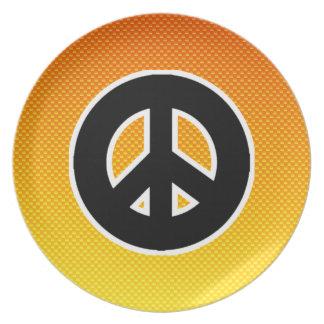 Yellow Orange Peace Sign Plates