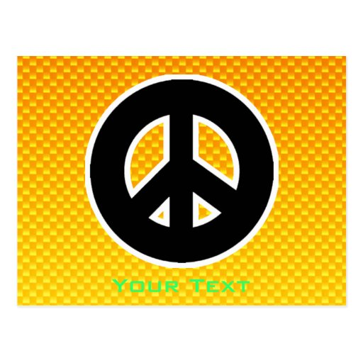 Yellow Orange Peace Sign Post Cards