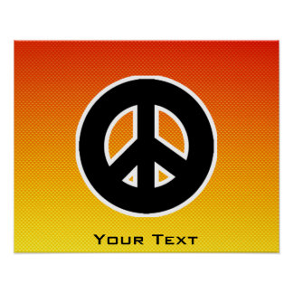 Yellow Orange Peace Sign Poster