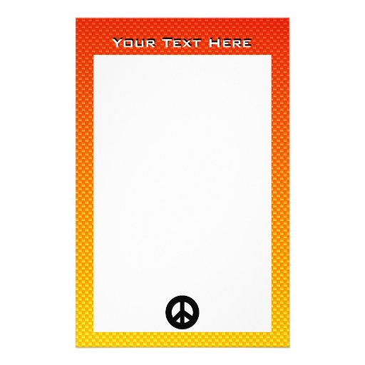 Yellow Orange Peace Sign Stationery Design