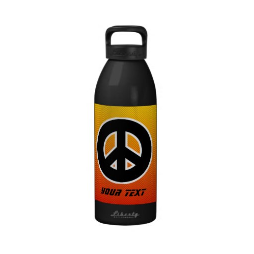 Yellow Orange Peace Sign Reusable Water Bottle