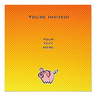 Yellow Orange Pig 13 Cm X 13 Cm Square Invitation Card