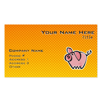 Yellow Orange Pig Business Card Templates