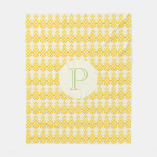 Yellow Orange Pineapple Pattern Monogram Blanket