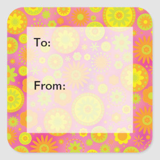 Yellow Orange Pink Hippy Flower Pattern Gift Tags Square Sticker