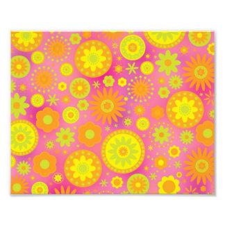 Yellow Orange & Pink Hippy Flower Pattern Photo Print