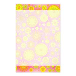 Yellow Orange & Pink Hippy Flower Pattern Stationery