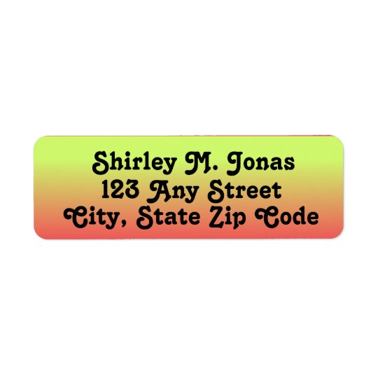 Yellow, Orange, Pink Return Address Labels