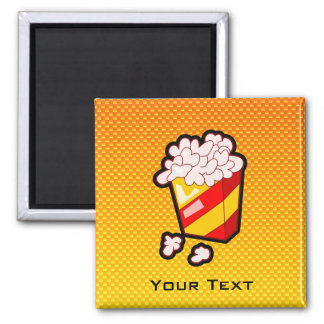 Yellow Orange Popcorn Square Magnet