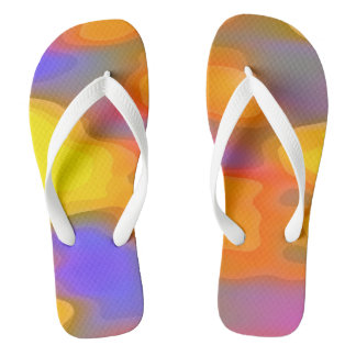 Yellow Orange Purple Abstract Artwork Flip Flops