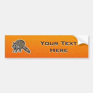 Yellow Orange Raccoon Car Bumper Sticker