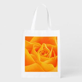 Yellow Orange Rose Reusable Grocery Bag