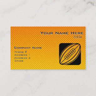 American football business cards zazzle uk yellow orange rugby business card reheart Images