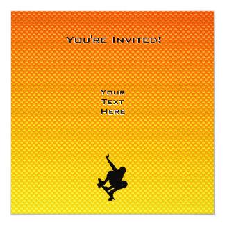 Yellow Orange Skateboarding 13 Cm X 13 Cm Square Invitation Card
