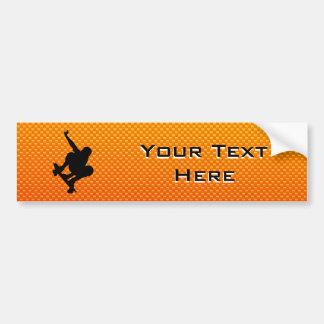 Yellow Orange Skateboarding Car Bumper Sticker