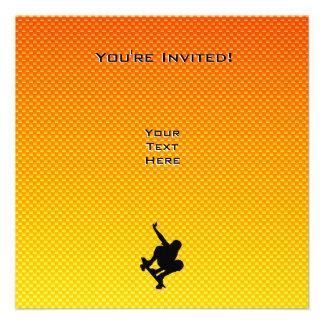 Yellow Orange Skateboarding Custom Invitations