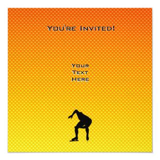Yellow Orange Speed Skater 13 Cm X 13 Cm Square Invitation Card