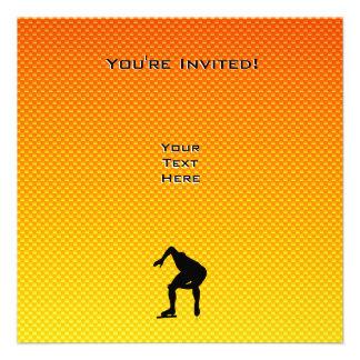 Yellow Orange Speed Skater Personalized Invite