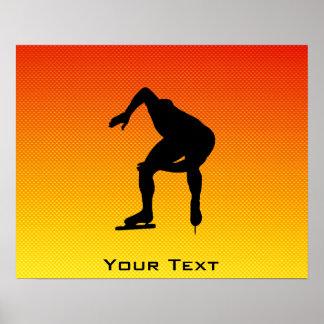Yellow Orange Speed Skater Poster