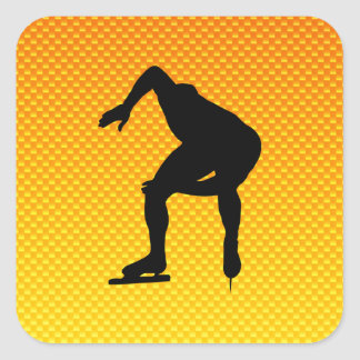 Yellow Orange Speed Skater Square Sticker
