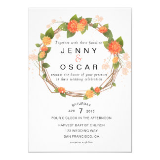 Yellow Orange Spring Wedding invitation