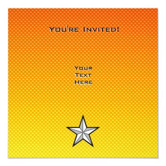 Yellow Orange Star 13 Cm X 13 Cm Square Invitation Card