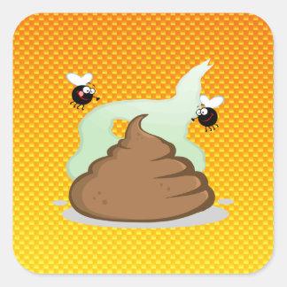 Yellow Orange Stinky Poo Square Sticker