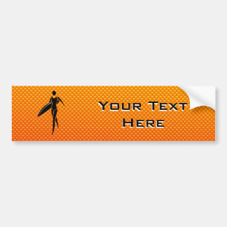 Yellow Orange Surfing Girl Bumper Sticker