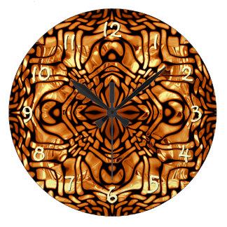 Yellow Orange Taupe Brown Hip Orient Bali Art Large Clock
